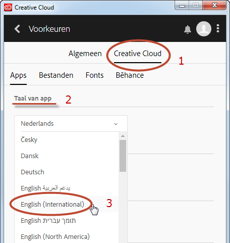 Voorkeurinstelling interface taal Creative Cloud app