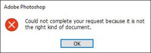 Could not complete your request because it is not the right kind of document